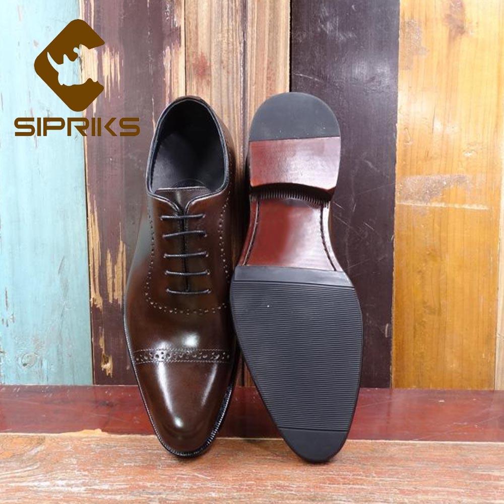 Goodyear Welted marrom Sipriks Sapatos Homens Elegante Bezerro Couro Preto Marrom Itália De Grande Tamanho Esculpida Importados Escuro 44 Clássico Preto Dos Oxfords 1wrqcZ1Ba