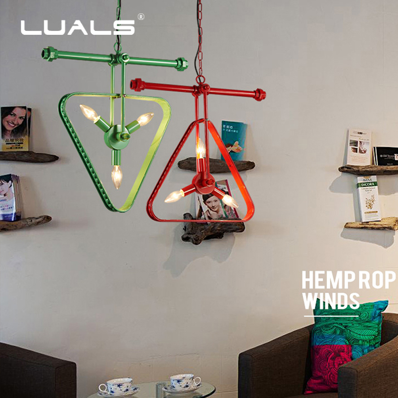 Rétro suspension lampe Loft Style industriel pendentif lumière conduite d'eau suspension lampe multicolore pendentif lumières Restaurant Art éclairage