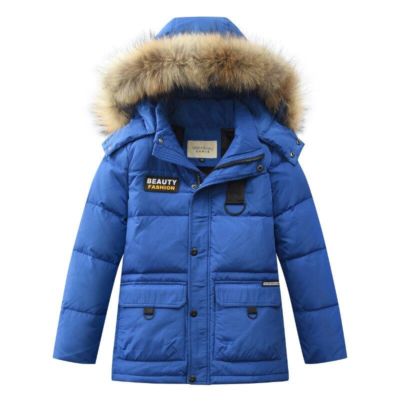 2019 russie hiver garçons doudoune garçon chaud épais duvet de canard manteau pour adolescents vêtements d'extérieur enfants décontracté fourrure à capuche vestes