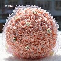 Artifical Flowers Bridal Bouquets Wedding Crystal Ivory Wedding Bouquet Brooch Bowknot Wedding Decoration D195