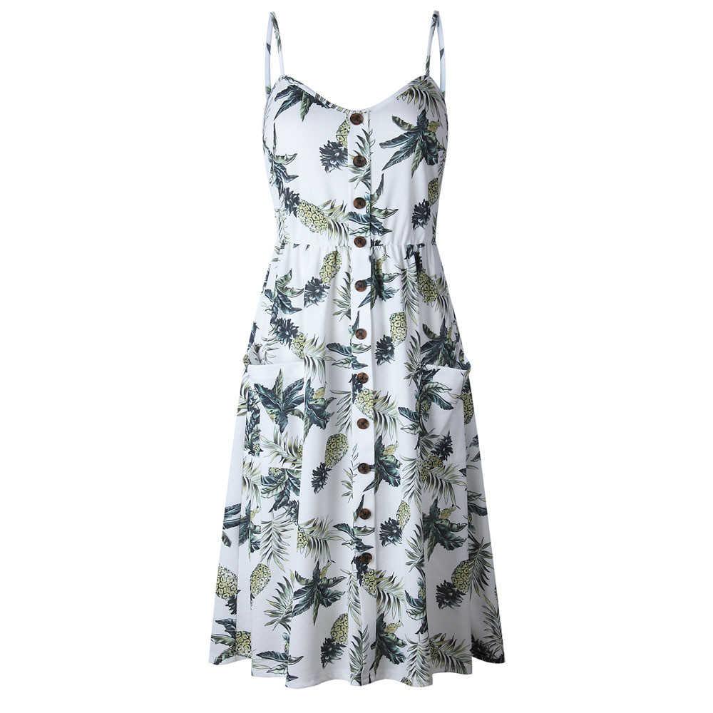 Mùa Hè Nữ 2019 Vintage Gợi Cảm Bohemian Hoa Áo Đi Biển Đầm Sundress Bỏ Túi Đỏ Trắng Đầm Sọc Nữ Thương Hiệu #3