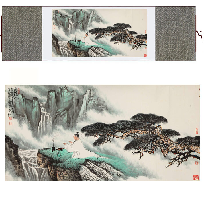 landscape art painting Mountain and River art painting lofty mountains and flowing water paintingPrinted painting