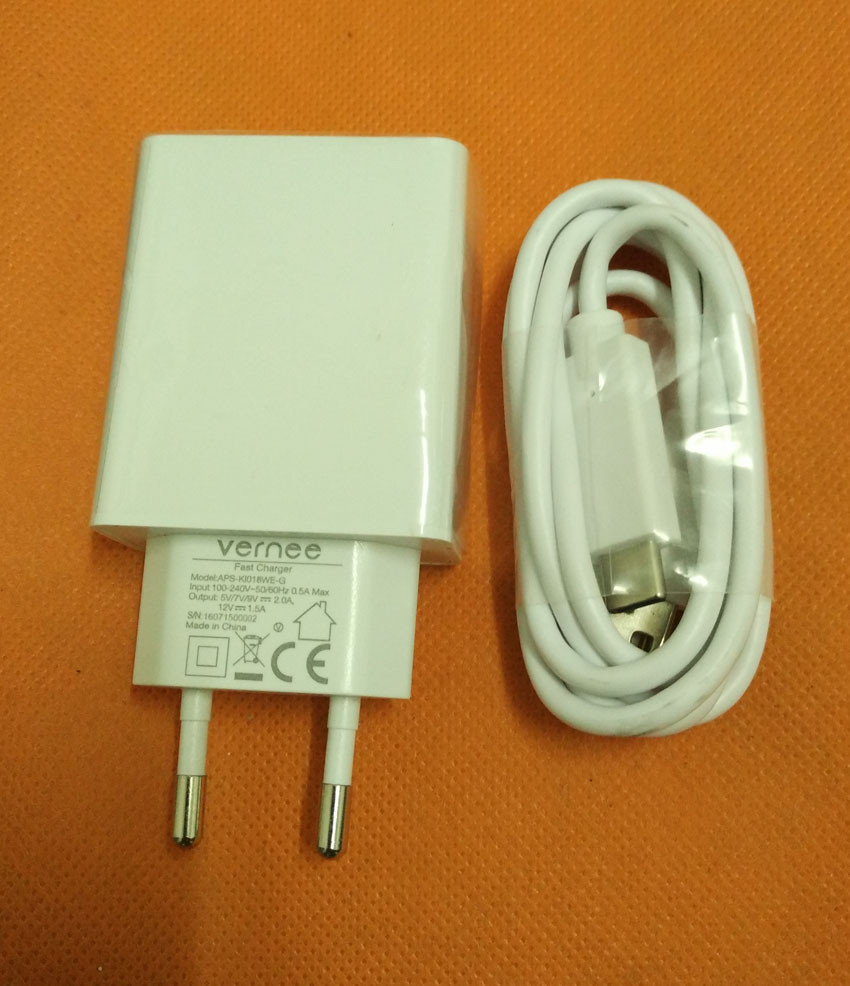 Original Travel Charger Plug Adapter+ USB Cable for Vernee Apollo Lite HelioX20 MTK6797 Deca Core 5.5 FHD Free Shipping