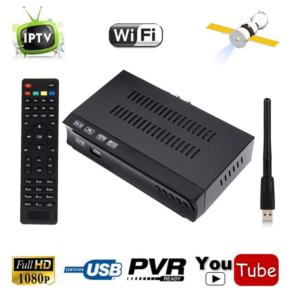 DVB-S2 HD/SD Digital Satellite Receiver + IPTV m3u Combo TV Tuner USB WIFI Antena Support Biss Key Power VU IKS Cccam NewCam PVR