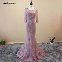 2018 Three Quarter Mermaid Tulle Evening Dresses Crystal Beading Luxury Sexy Pink Evening Gowns Longo