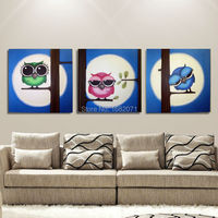 Free Shipping Hand painted Modern Popular Funny Owl Oil Painting On Canvas Funny Owls Canvas Painting For Wall Decorative