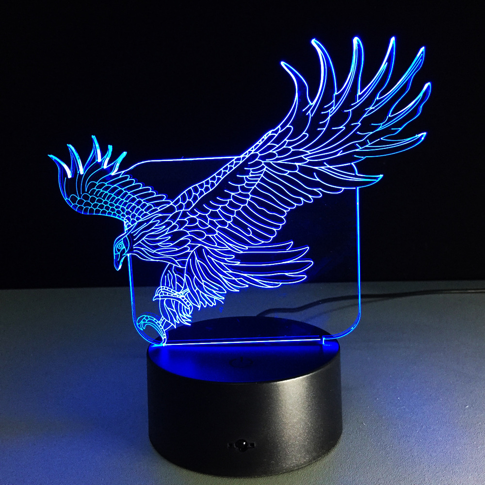 christmas decorations for home Amazing Flying Big Eagle Shape Night Light Colorful Hawk 3D Table Lamp