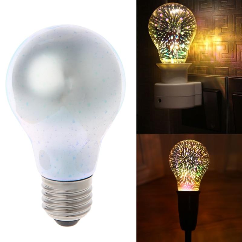 E27 A60 Colourful 3D Star Shine Decoration Multiple Reflection Alluminum Plated Glass