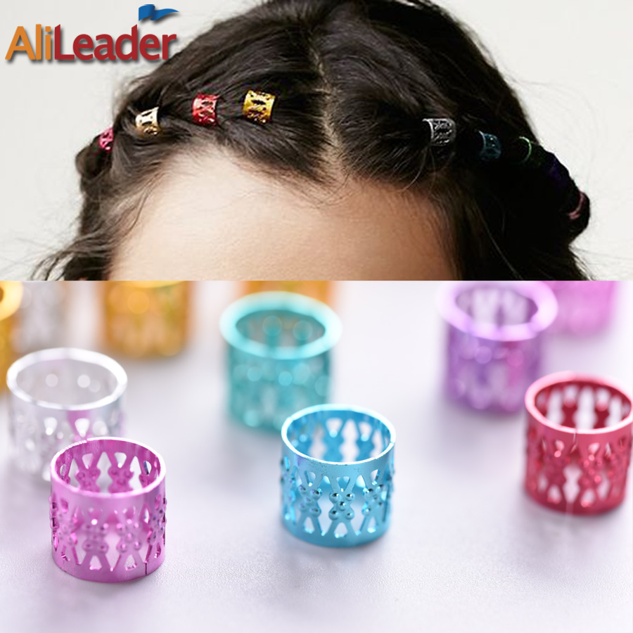 100 Pcs/Lot Adjustable Dreadlock Beads Cuff Clip Silver Golden Micro Rings Braid Beads F ...