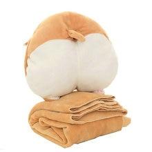 Winer warm 3 in 1 Corgi Dog ass Cushion with flannel blanket Plush Corgi Butt Hand wamer Stuffed Corgi Ass Pillow Cute Pet gift