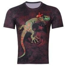 2015 мужская Мода 3D Животных Творческая Футболка, молния/дым лев/ящерица/капли воды 3d отпечатано с коротким рукавом Футболка M-4XL