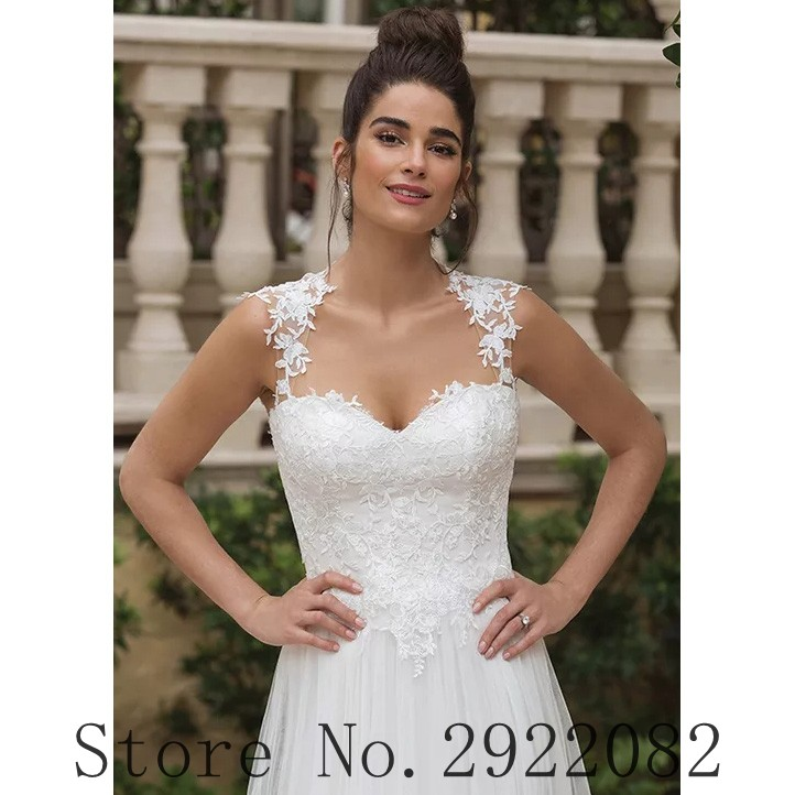 Romatic Wedding Dress 2019 Sweetheart Lace Appliques Tulle See Through Back Princess Boho Wedding Gowns Beach Bridal Dress in Wedding Dresses from Weddings Events