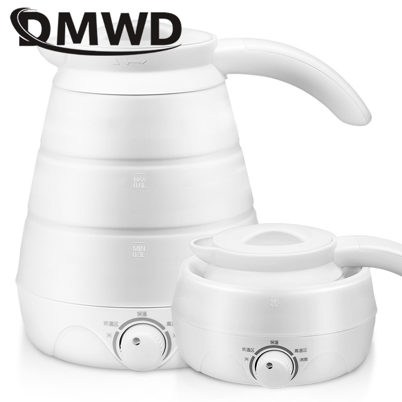DMWD Dual Voltage Thermal Insulation Electric Kettle Silicone Foldable Portable Travel Hot Water Heating Boiler Tea Boiling Pot