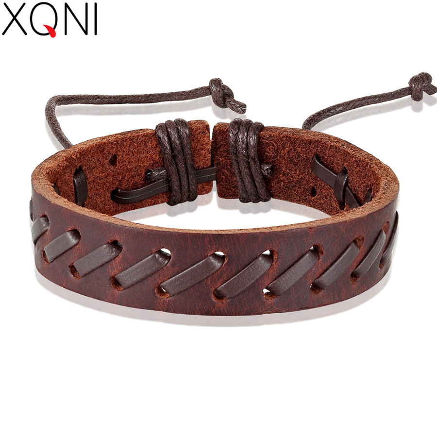 XQNI Geometric Twining Rope Chain Bohemia Lace-up Style PU Leather Bracelet For Men Black&Brown Color Chain Accessories Jewelry