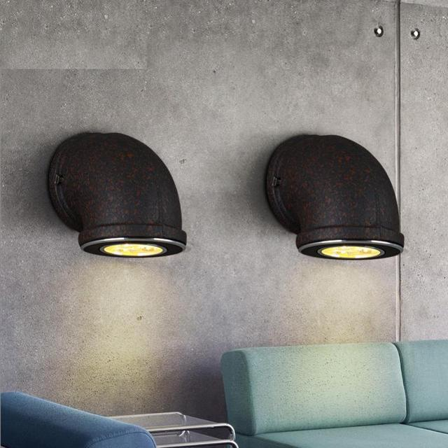 Bar Retro Water Pipe Wall Lamp Include 3W/7W Led Spot Light Black Vintage  Industrial