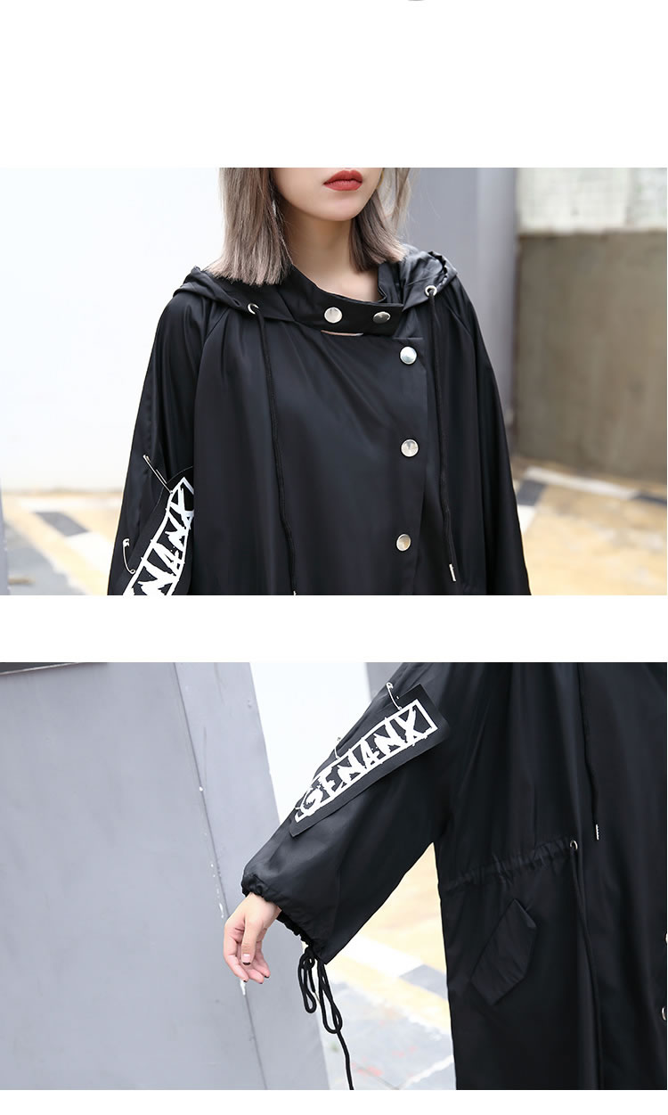 XITAO Spliced Plus Size Black Trench For Women Tide Long Print Streetwear Hoodie Casual Female Wide Waisted Coat 19 ZLL1100 16
