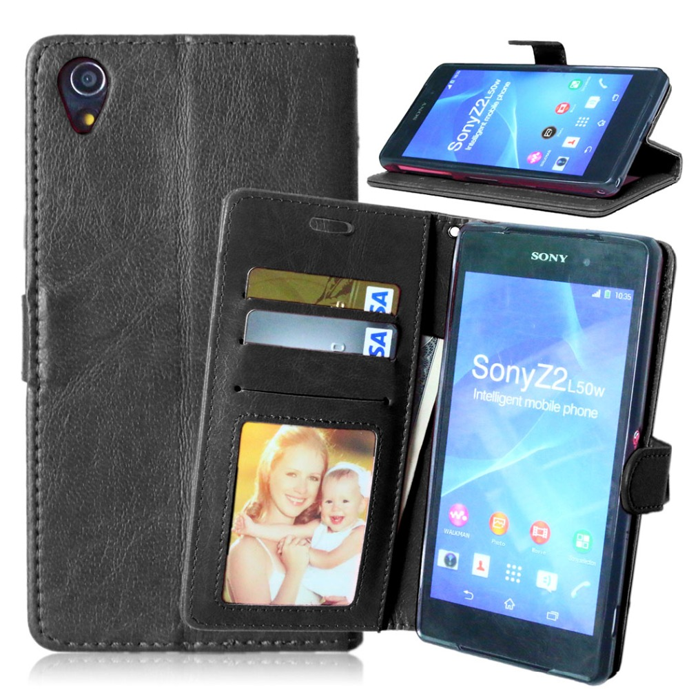 Original <font><b>Phone</b></font> Case for Sony <font><b>Xperia</b></font> Z2 Luxury Flip Leather Cover for Sony Z2 D6503 L50W Wallet Case Card Holder Stand Back Cover