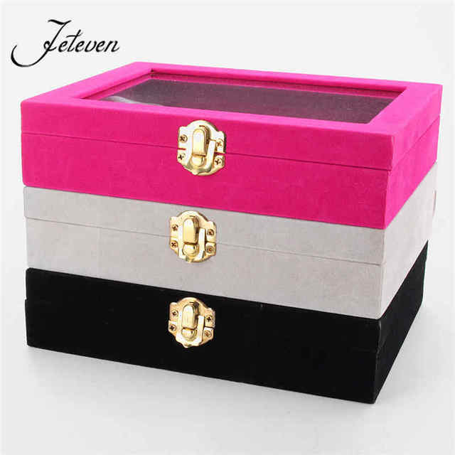12 Grids Black Rose Red Velvet Jewelry Box Rings Earrings Necklaces