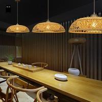 Bamboo Wicker Rattan Hat Lampshade Pendant Light Fixture Art Decorative Loft Suspended Lamp Hot Desk Counter Lounge Kitchen Room