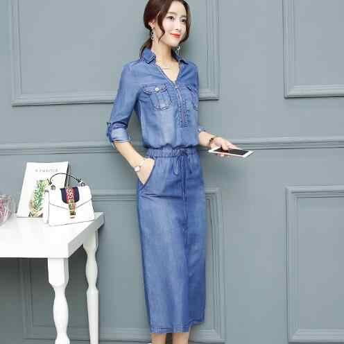 Джинсовые платья 2018 летнее платье женское вымытое синее женское джинсовое платье с длинным рукавом Повседневное платье Ziper с v-образным вырезом тонкая талия WF753