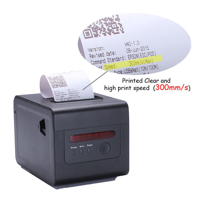 80mm POS machine network thermal receipt printer with cutter, wall hanging, dust cover,buzzer specialized for kitchen bill print