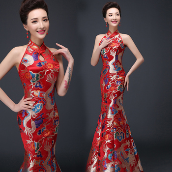 Chinese traditional dress long design women's costume bridal evening dress Chinese style cheongsam