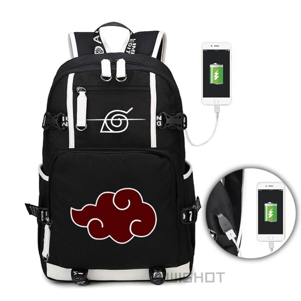 WISHOT Anime Naruto Akatsuki Red Cloud Itachi Backpack Shoulder travel School Bag Casual USB Charging Laptop