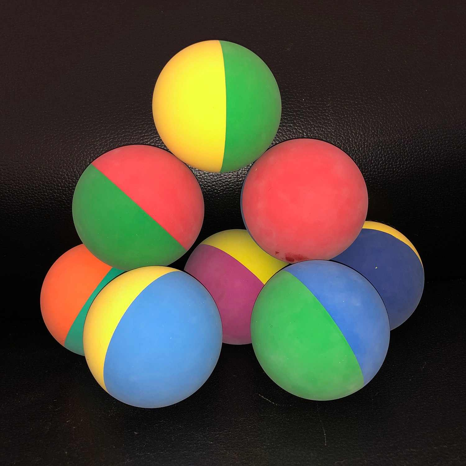 10pcs/lot 6cm Bi-color Racquet ball Squash Low Speed Rubber Hollow Ball Training Competition Thickness 5mm High Elasticity