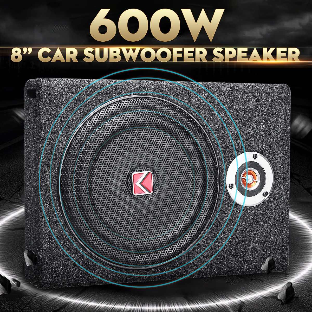 600W voiture caissons de basses haut-parleur 8 ''Subwoofer voiture Active mince sous siège haut-parleur stéréo basse klaxon Audio amplificateur de puissance haut-parleurs