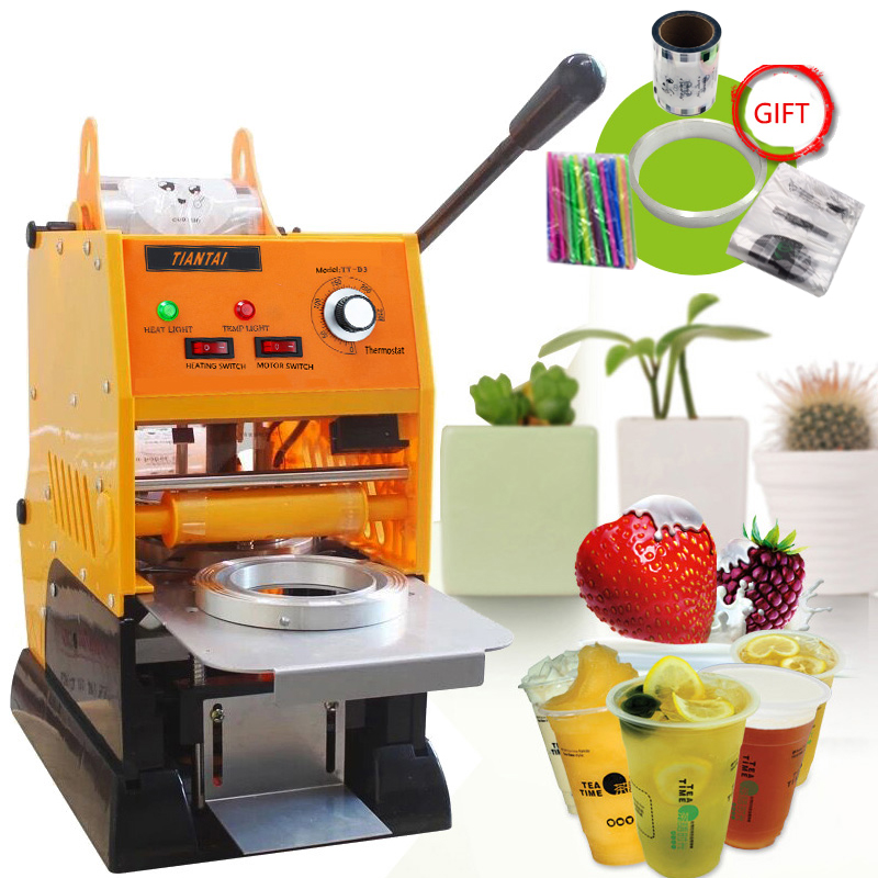 Semi-automatic Manual Plastic Cup Liquid Container Sealer  220V Boba Bubble Tea Juice Drink Film CoverLlid Sealing Machine 5pcs cute long handle plastic coffee milky tea juice stirrer
