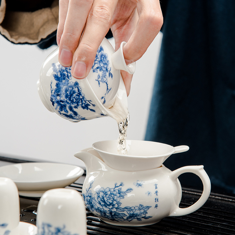 Azul e branco da porcelana jogo de chá poli bandeja de madeira de chá Kung Fu Sen oferta especial pequena orquídea atacado produtos personalizados - 3