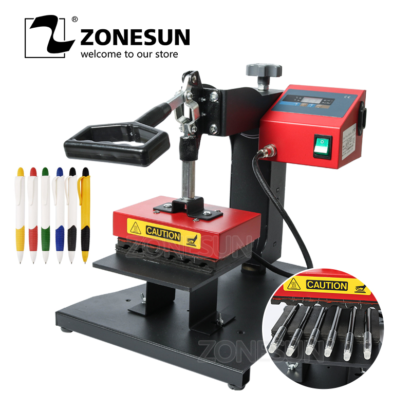 ZONESUN Pen Heat Printing Machine Hot Transfer Printing Machine Press Machine For Plastic Ball Point Pen Logo Pressing Machine