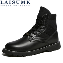 LAISUMK Autumn Winter Men Desert Tactical Military Boots Mens Work Safty Shoes Army Waterproof Work Shoes Ankle Combat Boots army fan outdoor camouflage non slip tactical boots men s combat boots commando army boots men desert safty shoes