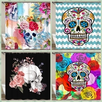 Sugar Skull Show Curtains Cartoon Colored Skull Design Custom Shower Curtain Bathroom Waterproof Polyester Fabric With