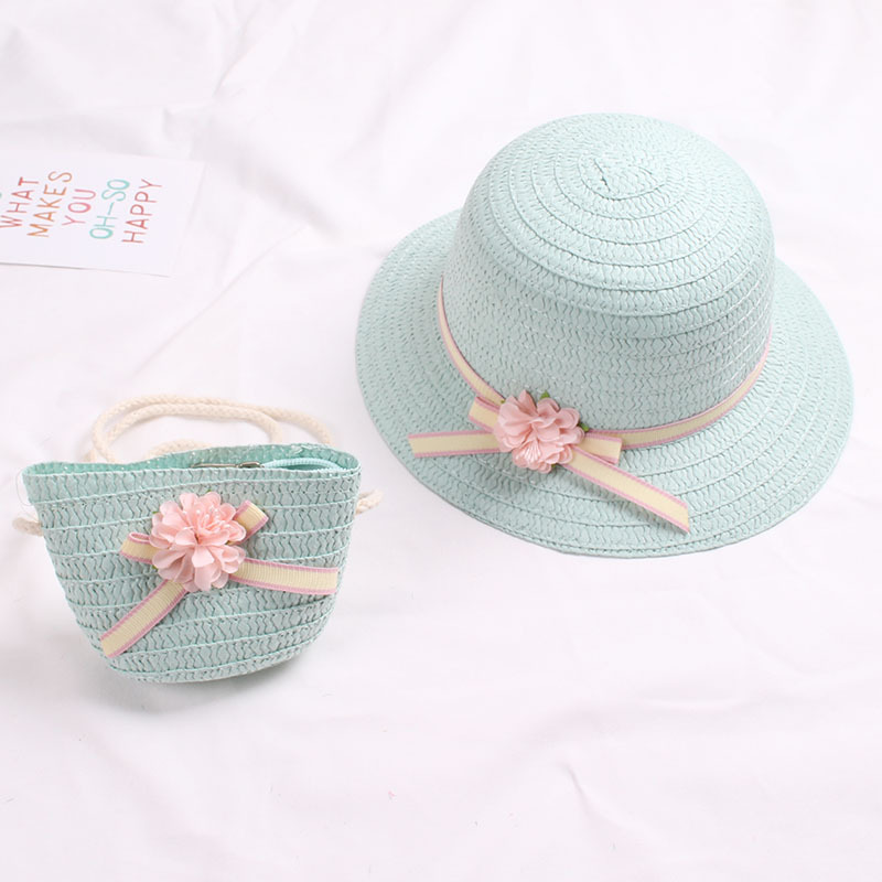 Cute Girls Straw Hat Sun Hat + Shoulder Bag Handbag 2pcs Sets for Summer Kid Princess Floral Beach Hats for Party Outdoor 3