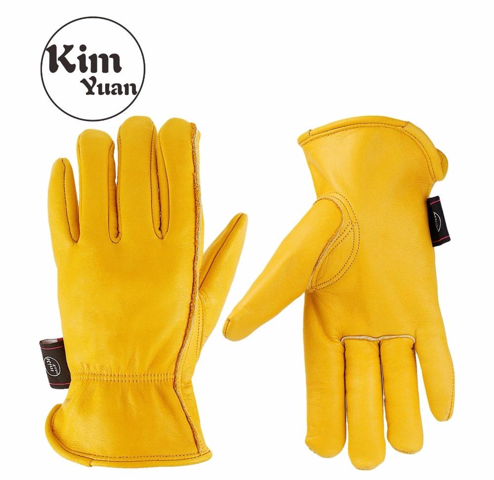 Kim yuan 008 luvas de trabalho de couro dourado para jardinagem/corte/construção/motocicleta, masculino e feminino, com pulso elástico