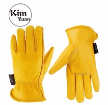 KIM YUAN 008 Golden Leather Work Gloves for Gardening/Cutting/Construction/Motorcycle, Men&Women, with Elastic Wrist kim yuan 019 green garden leather work gloves anti slippery
