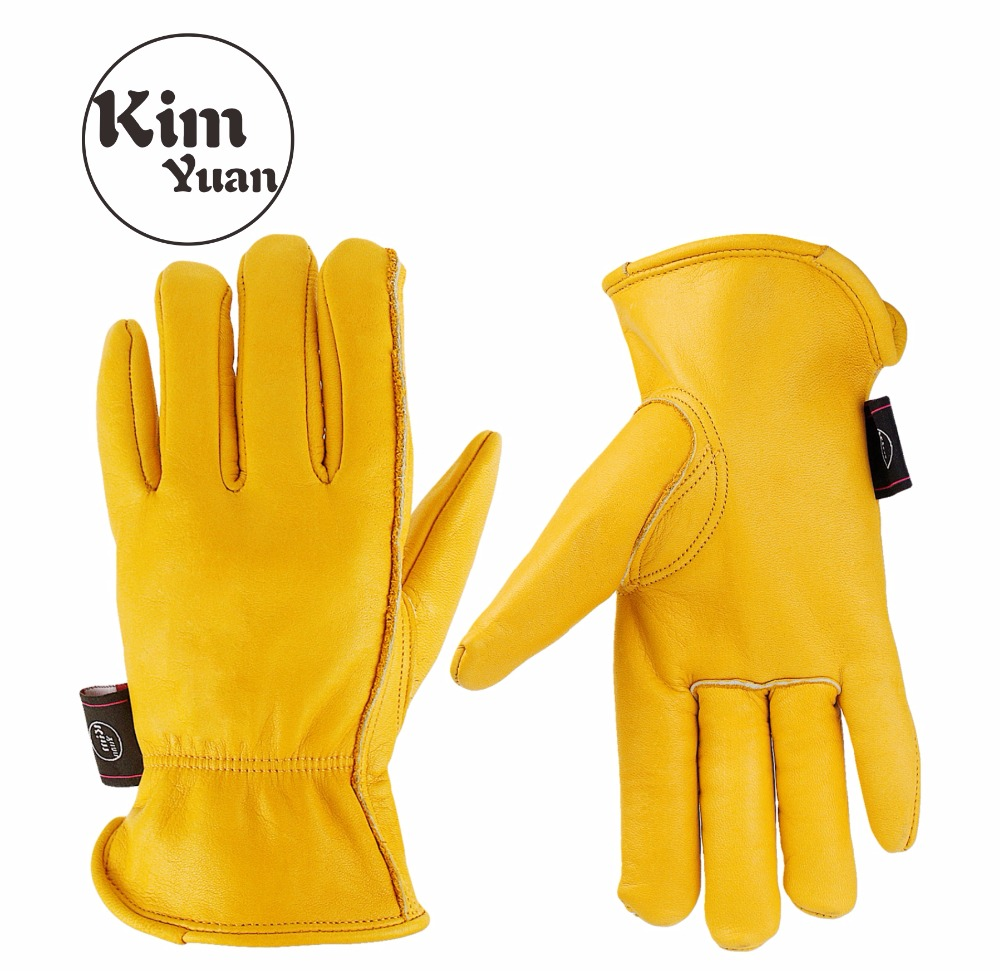 KIM YUAN 008 Golden Leather Work <font><b>Gloves</b></font> for Gardening/Cutting/Construction/Motorcycle, Men&Women, with Elastic Wrist