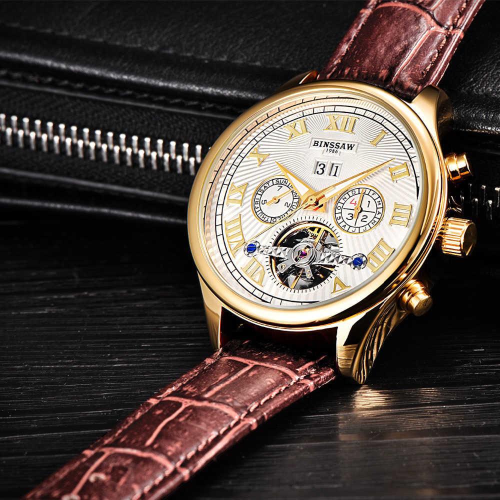 BINSSAW Luxus Top Marke Set Automatische Männer Tourbillon Mechanische Uhr Skeleton Leder Business Kid Frauen Herren Smart Uhren