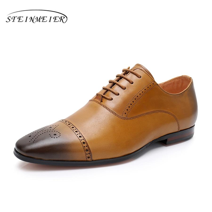 brown Zalea Invierno 100 Zapatilla Yinzo red Brogue Hecho Genuino Rojo La Pisos Black Mano Vintage Zapatos De 2018 Negro Cuero Hombre Para Oxford A Marrón UgwfIgq
