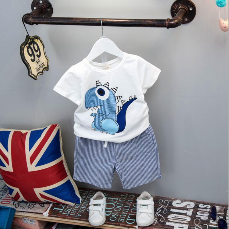 NEAT 2018 Summer Baby Boy Suit Print cute Pattern Children clothes boy Striped cotton Short-sleeved T-shirt and shorts H18725