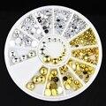 3d prego strass decoração de ouro / prata de ouro bola acrílico decoração para unhas dica studs ferramentas 6 tamanho 1.5 / 2 / 2.5 / 3 / 4 / 5 mm ZP056