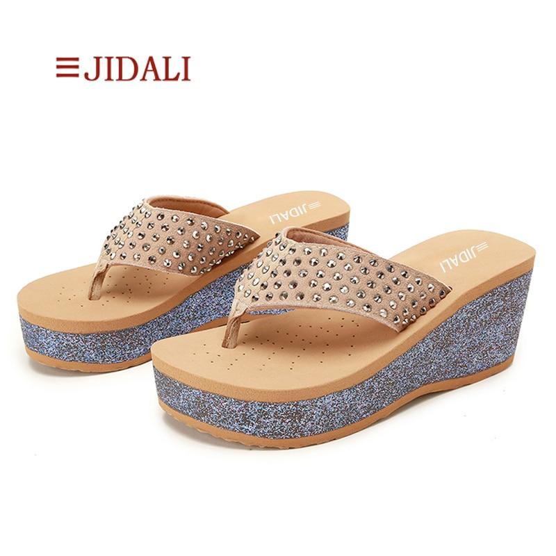 5851b7e0ce26fc JIDALI Fashion Women Bling Flip Flop Rivets Star High Platform Wedges EVA  beach Outside Slipper Summer