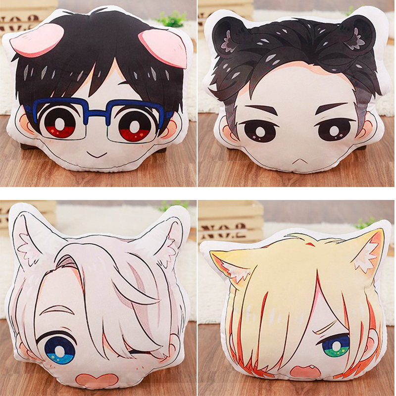 Anime Yuri on ice Victor Katsuki Yuri Plisetsky Head Pillow Cushion Cute Cartoon Double-side Cosplay Plush Stuffed Toy Doll Gift цена
