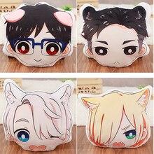 Anime Yuri on ice Victor Katsuki Yuri Plisetsky Head Pillow Cushion Cute Cartoon Double-side Cosplay Plush Stuffed Toy Doll Gift