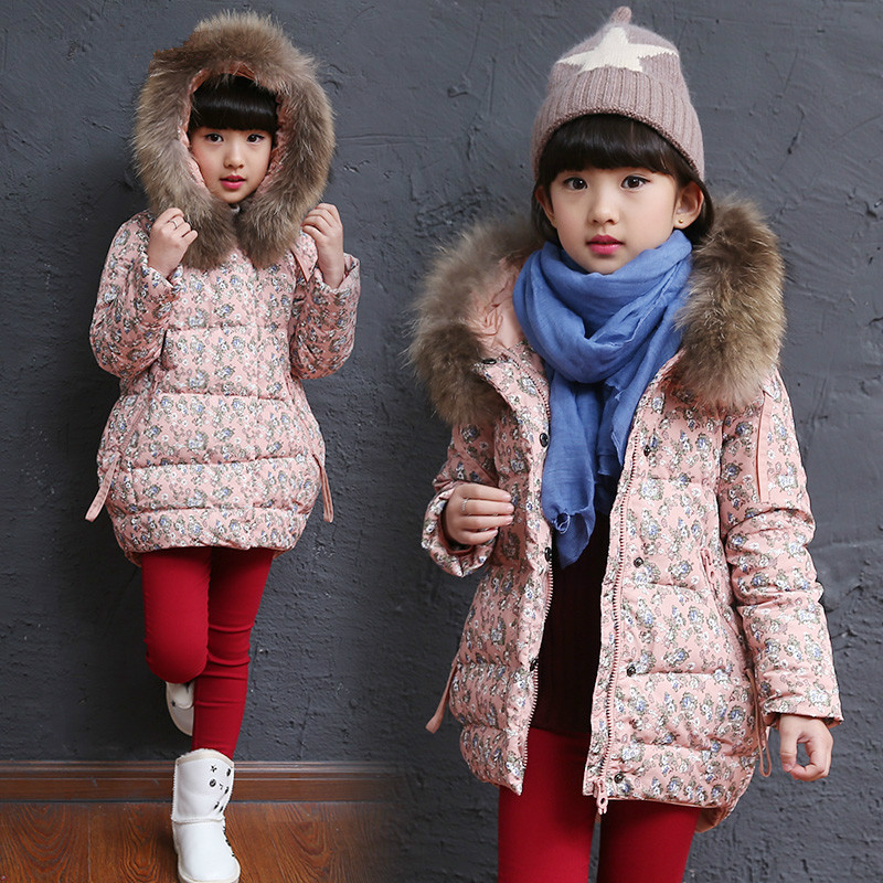 26207a673 2018 Girls Winter Thickening Cotton Padded Jacket For Cold Weather Children  Floral Parkas Coat Kid Long Puffer Coat Outerwear A5-in Down & Parkas from  ...