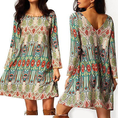 e024a71dc68 2016 Fashion Women Clothes Dresses Summer Boho Long Sleeve Party Casual  Clothing Beach Short Mini Dress Plus Big Size