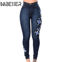 NIBESSER Embroidery Jeans Woman High Waist Jeans Gradient Denim Jeans Femme Push Up Mom Jeans Flower