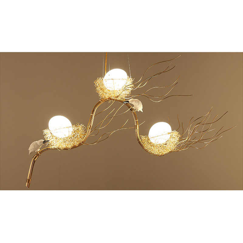 Ретро железная ветка подвесные люстры со светодиодами блеск столовая Светодиодный Люстра Освещение Птичье гнездо светодиодный крепление для люстр