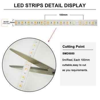 5050 60LEDs/m LED Strip,IP67,14.4W/m,DC12V/24V,300LEDs/Reel,5meter/Reel,Waterproof for Indoor & Outdoor Building Decoration